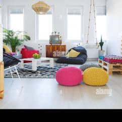 Retro Living Room Modern Contemporary Decorating Ideas Colorful With Pouf Tv Swing Crate Furniture