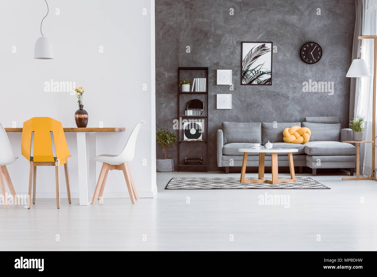 Grey And Yellow Chair Decorative Vase On Dining Table With Yellow Chair In Living Room