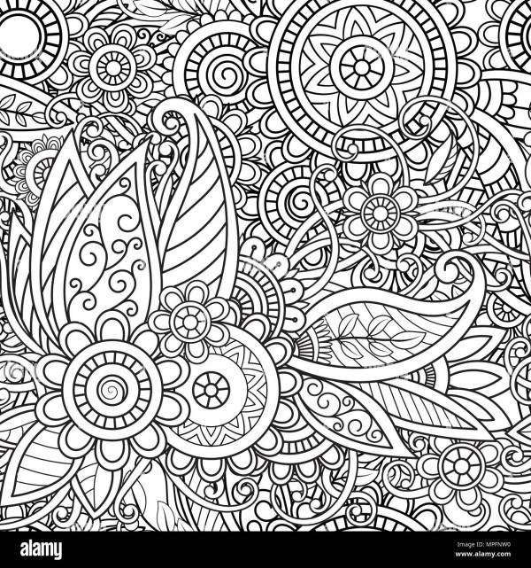 Ethnic Seamless Pattern With Mandalas Flowers And Leaves. Doodles Floral Black White