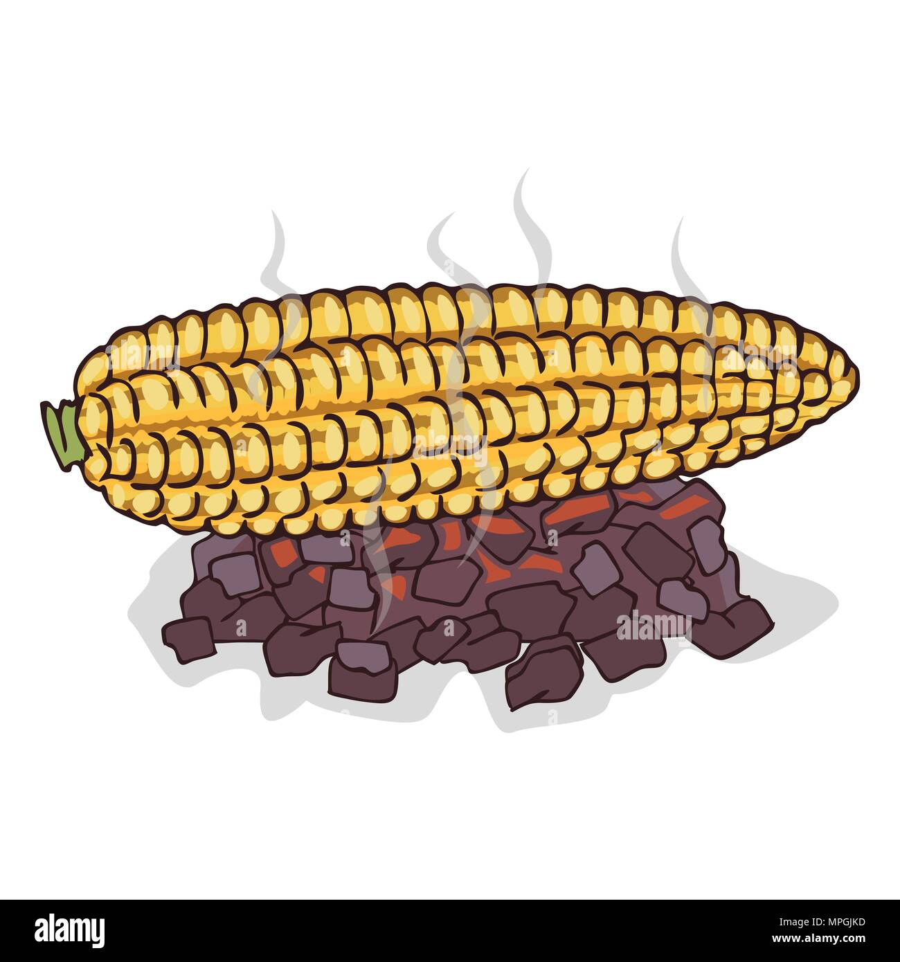 hight resolution of isolate grilled corn ears fruit on white background close up clipart with shadow in flat