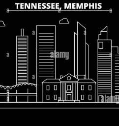 memphis silhouette skyline usa memphis vector city american linear architecture buildings  [ 1300 x 740 Pixel ]