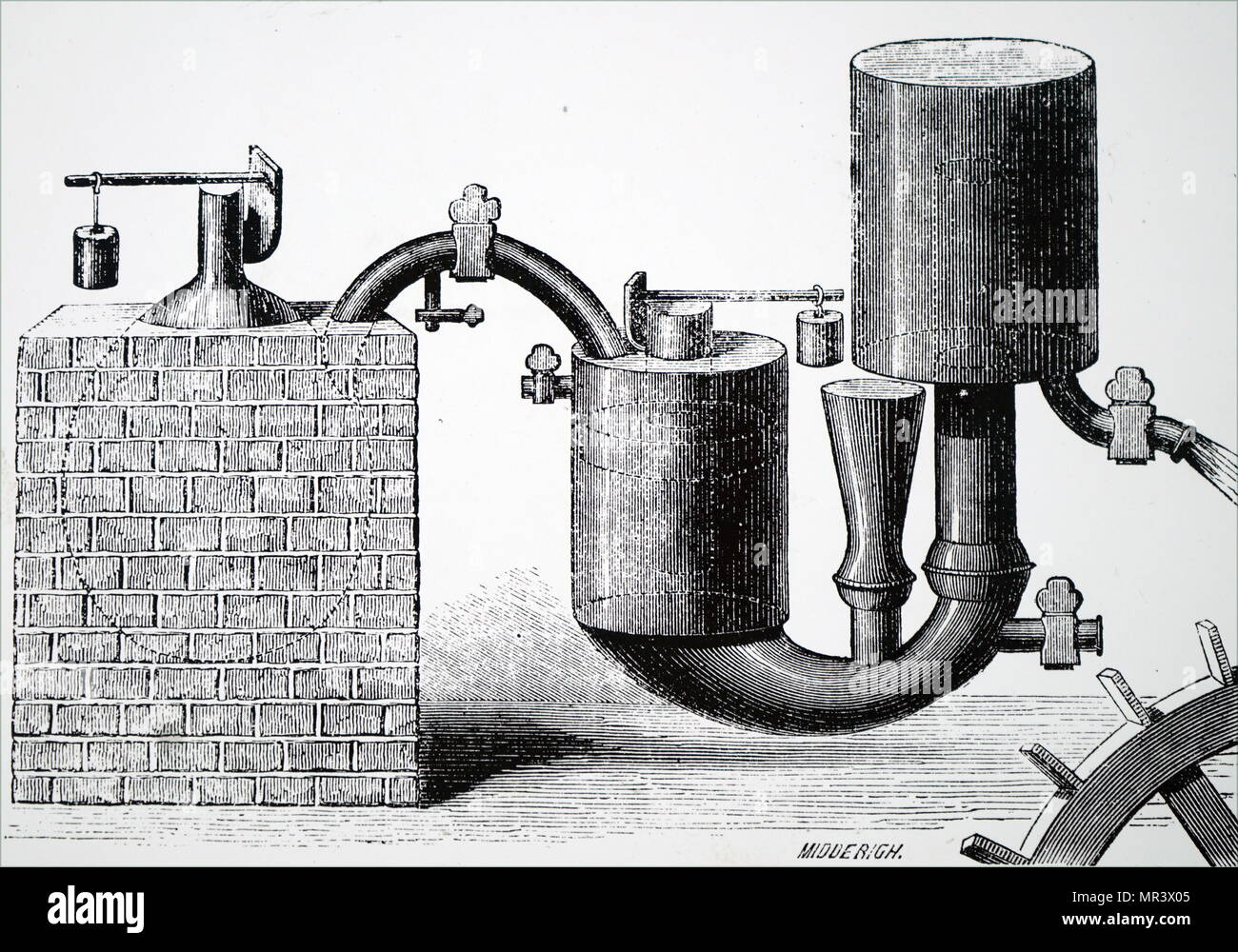 hight resolution of illustration depicting papin s steam engine 1707 for pumping water from mines it was the first engine to use the safety valve he had invented