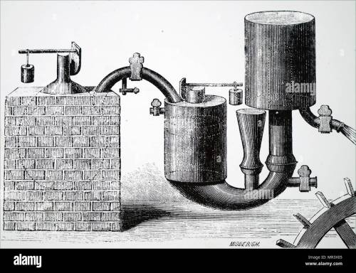 small resolution of illustration depicting papin s steam engine 1707 for pumping water from mines it was the first engine to use the safety valve he had invented