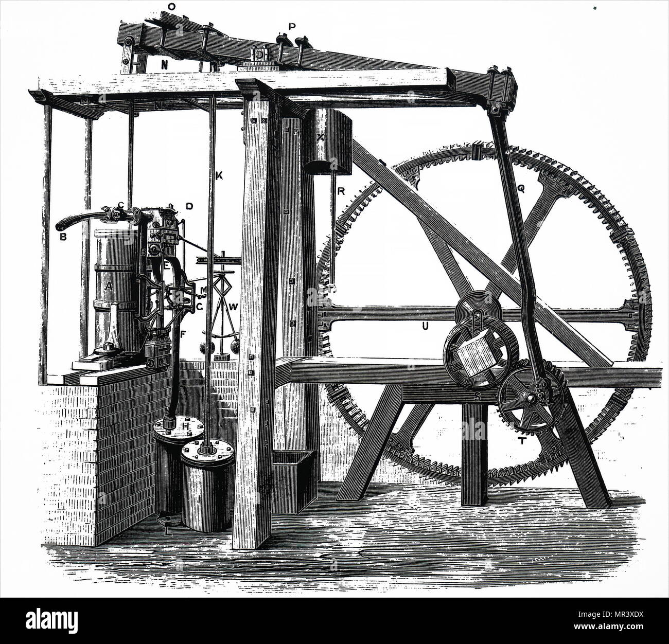 james watt steam engine diagram of plant parts worksheet engraving depicting the condenser 39s