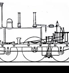 illustration depicting the steam brake operating on the driving wheels patented by robert stephenson  [ 1300 x 900 Pixel ]