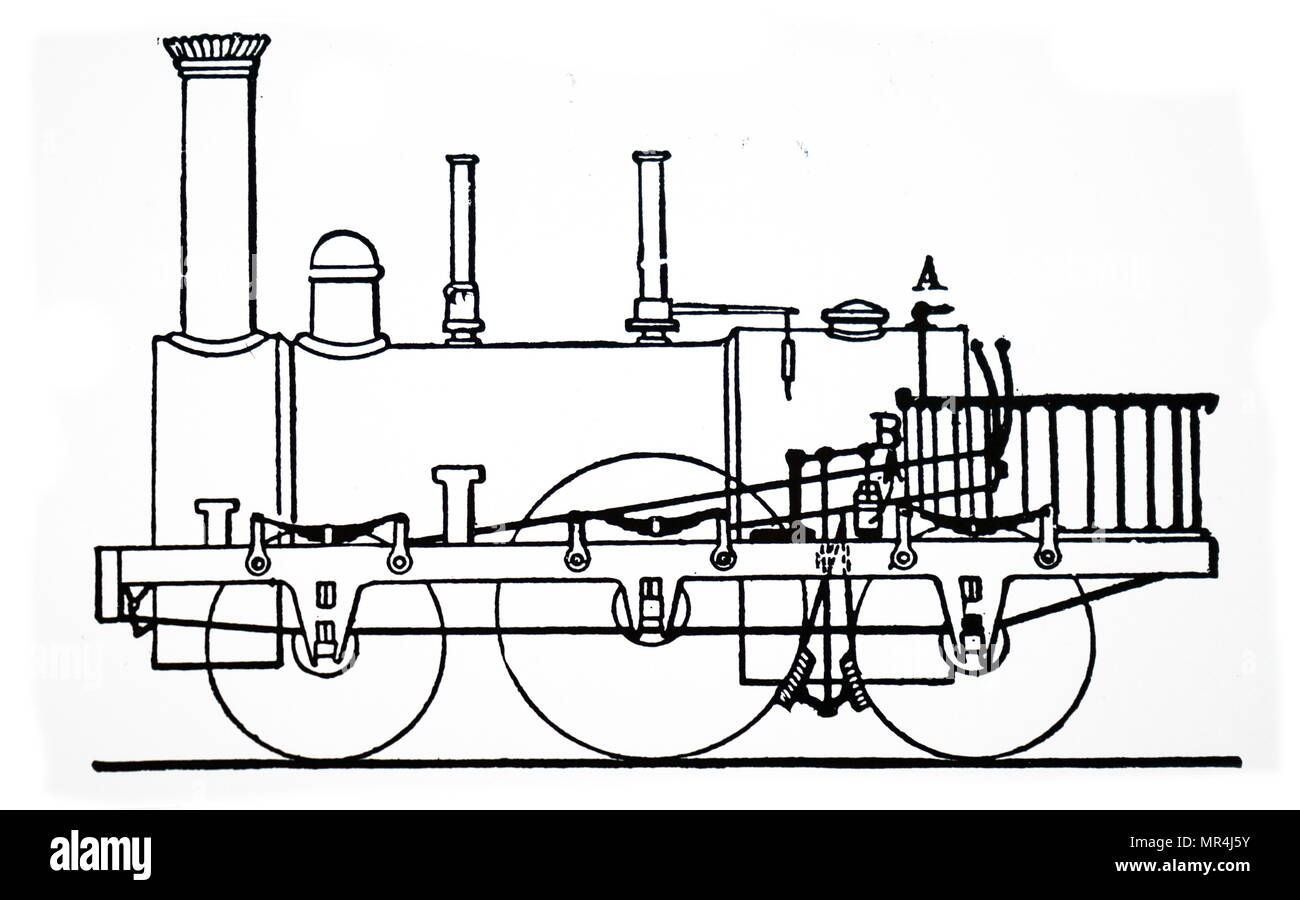 hight resolution of illustration depicting the steam brake operating on the driving wheels patented by robert stephenson