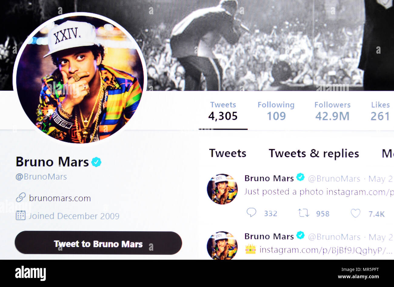 bruno mars twitter page