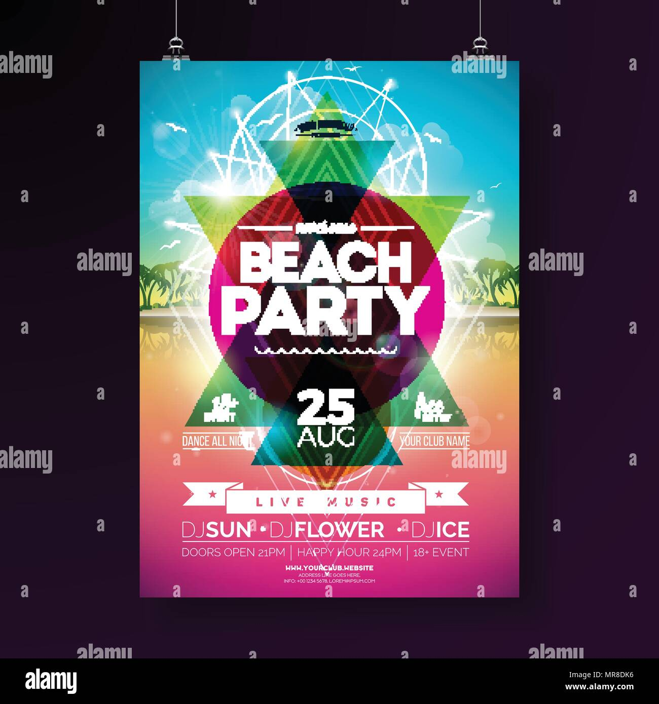 Vector Summer Beach Party Flyer Design With Typographic Elements And  Abstract Color Geometric Shape On Tropical Landsape Background.