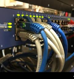 blue white and orange networking cable hang out on the front of a hotel communications server [ 1300 x 1011 Pixel ]