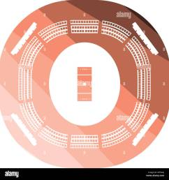 cricket stadium icon flat color design vector illustration  [ 1300 x 1359 Pixel ]