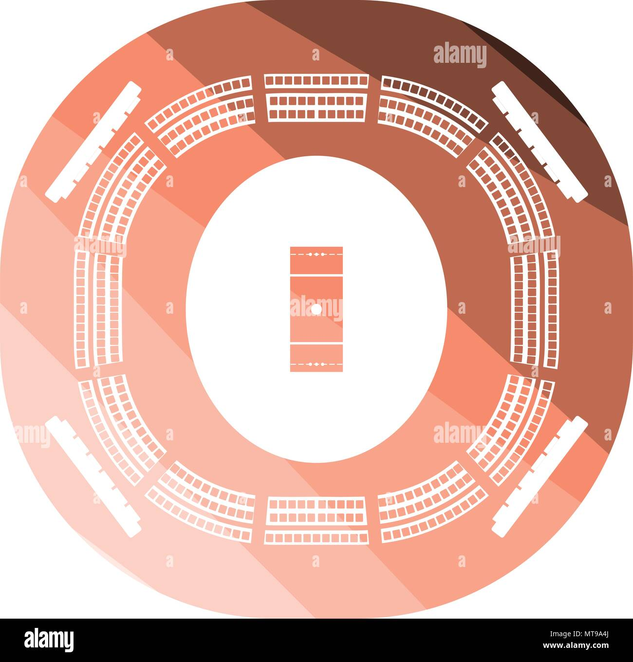 hight resolution of cricket stadium icon flat color design vector illustration