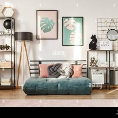 Modern Living Room Shelves Color Decorating Ideas For Rooms Emerald Futon With Pillows In A Interior Metal And Botanical Posters