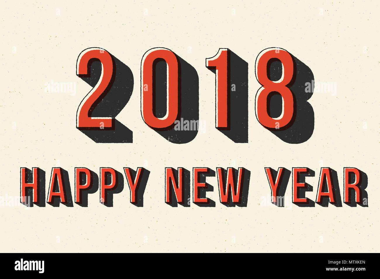 2018 Happy New Year Retro Typography Poster. For Greeting Card, Brochure Or Flyer  Template. Vector Illustration.