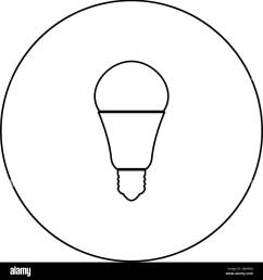 led lightbulb black icon in circle outline vector i isolated [ 1300 x 1390 Pixel ]