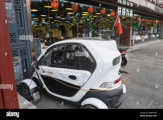 electric,battery,eco,car,in,polluted,pollution,centre,of,beijing