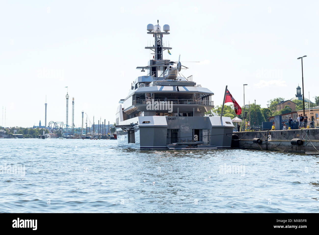 STOCKHOLM. SWEDEN. JUNE 2. 2018: The large luxury yacht M/S Skat embarked in Stockholm harbor. The ship is owned by the former Microsoft engineer ...