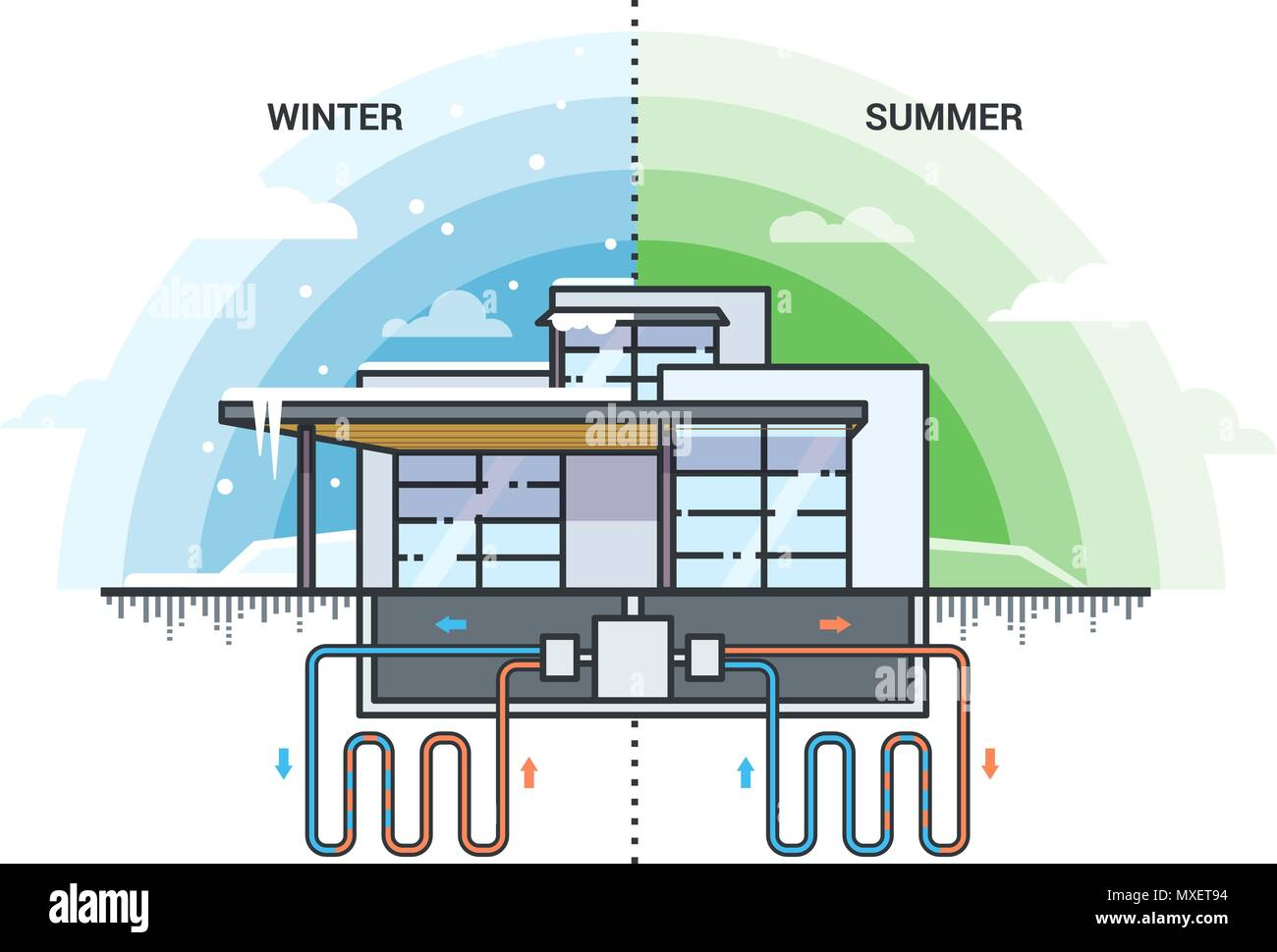 hight resolution of geothervector illustration of modern house with system of using of geothermal energy for heating eco