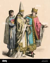 Servant Roman Catholic Pope and a king of the 12th century Hand colored print Stock Photo Alamy