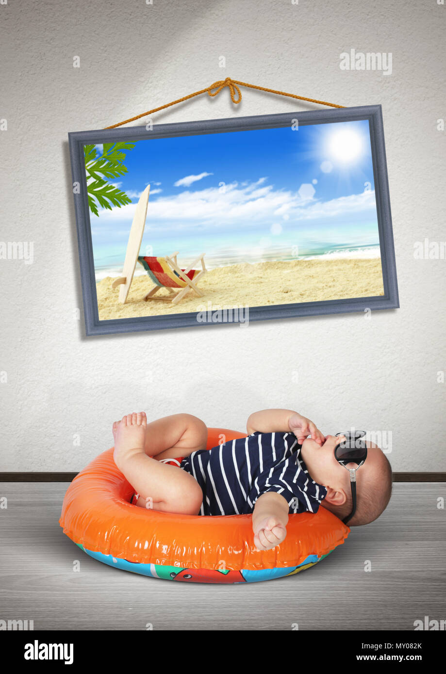 Funny Baby On Swimming Circle At Home As On The Beach Vacation Concept Stock Photo Alamy