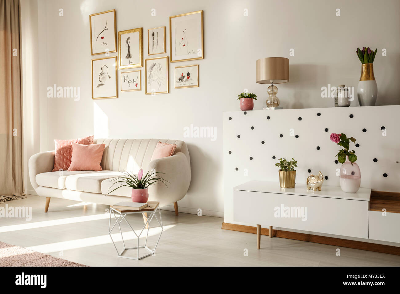 white living room side table paint schemes ideas angle of a interior with sofa coffee cabinet art collection and plants