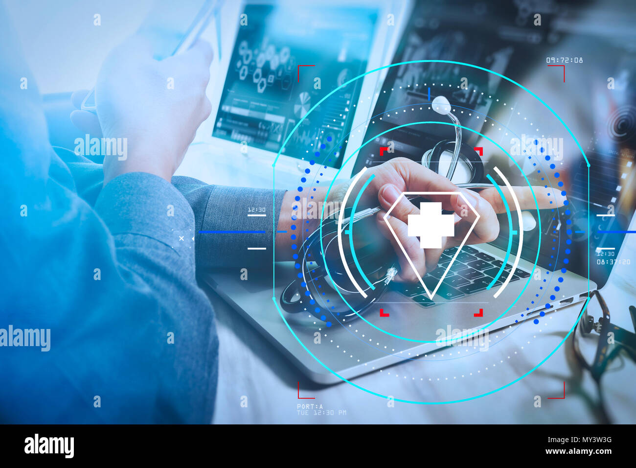 hight resolution of health care and medical services with circular ar diagram doctor working with digital tablet and laptop computer with smart phone in medical workspace
