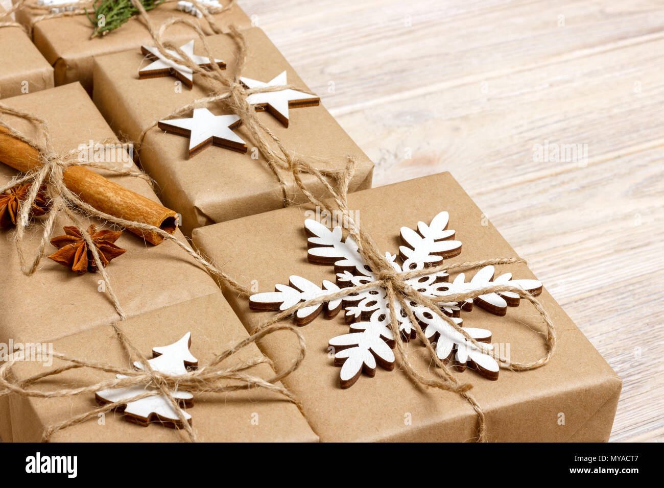 Handmade Craft Christmas Gifts Or New Year Rustic Presents Gifts On Wooden Background Stock Photo Alamy