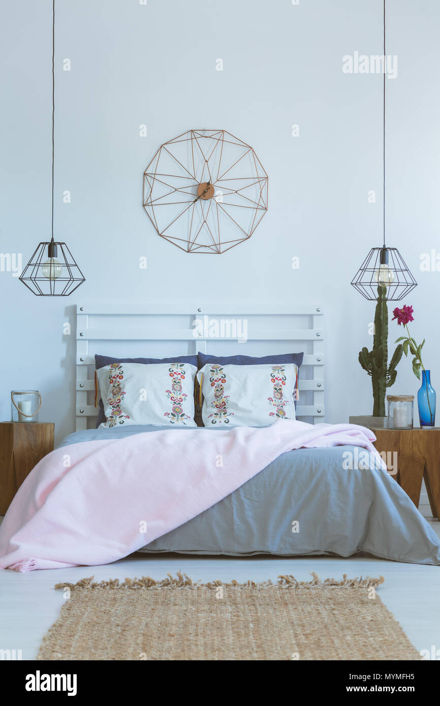 Cozy Bedroom In Pastel Pink And Grey Colors With Wooden