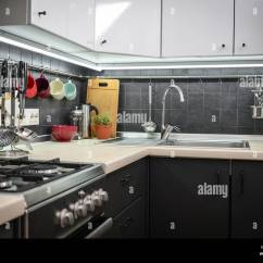 Kitchen Rail System Pull Up Cabinets A Fragment Of The Modern Style With And Utensils Houseplant