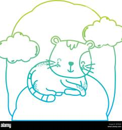 degraded line cute cat pet animal in the landscape [ 1300 x 1296 Pixel ]