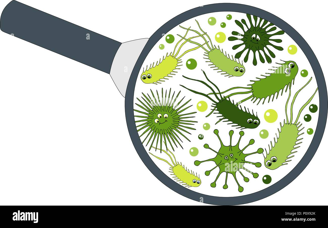 Bacterial Microorganism In A Magnifier Bacteria And Germs Colorful Set Micro Organisms