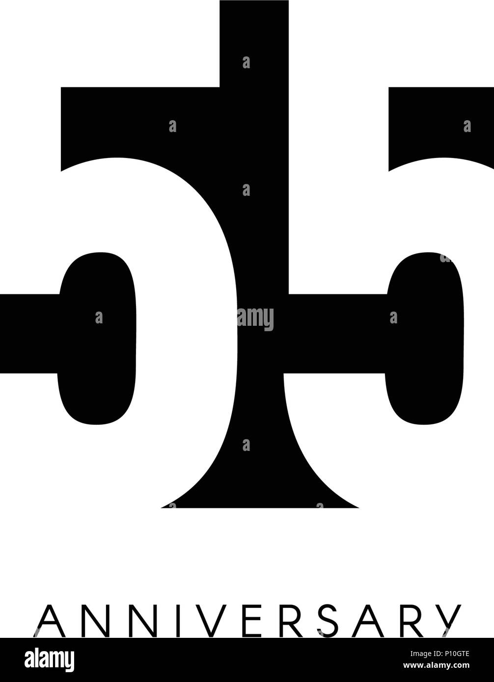 https www alamy com fifty five anniversary minimalistic logo fifty fifth years 55th jubilee greeting card birthday invitation 55 year sign black negative space vector illustration on white background image207152302 html