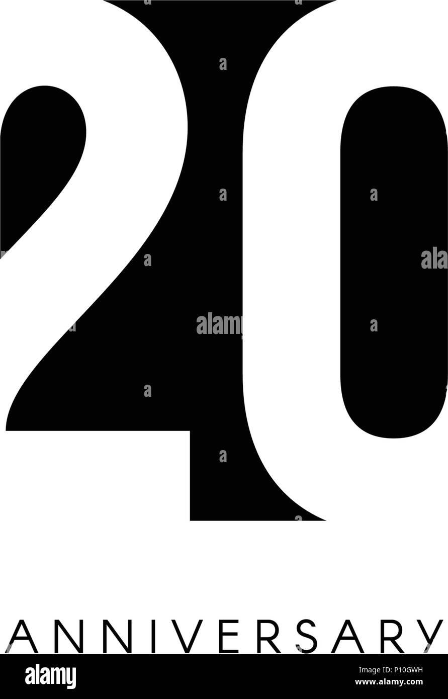 https www alamy com twenty anniversary minimalistic logo twentieth years 20th jubilee greeting card birthday invitation 20 year sign black negative space vector illustration on white background image207152333 html