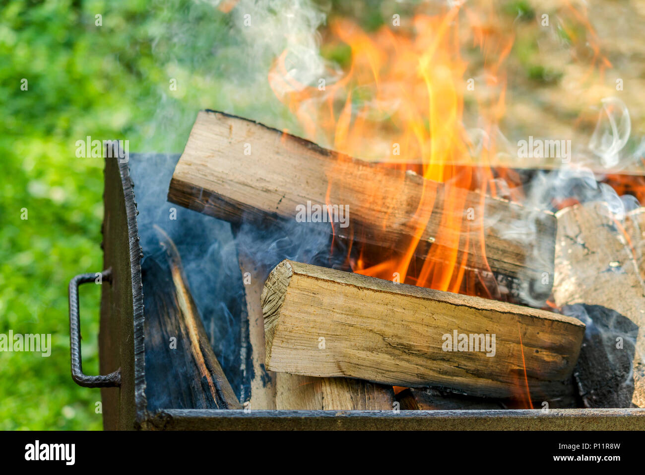Burning Stained Wood Outdoors