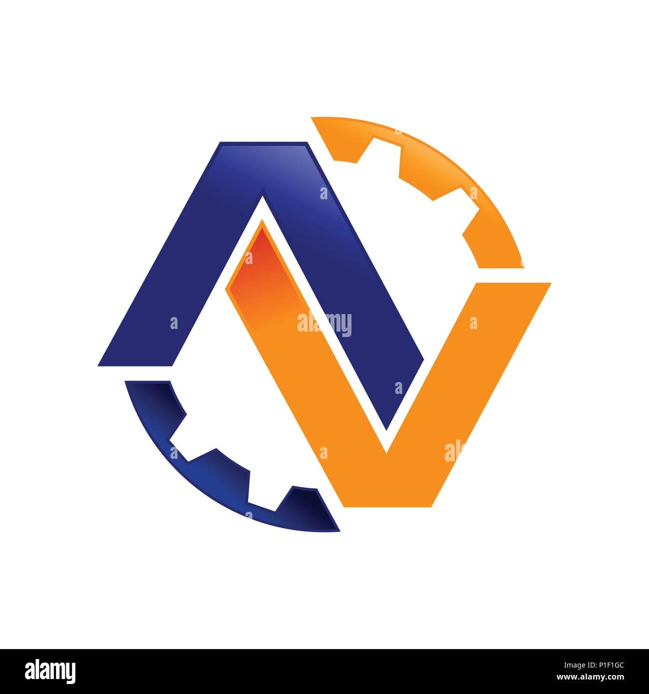 hight resolution of av initials lettermark engineering gear vector symbol graphic logo design