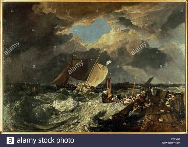 Calais Pier With French Fishermen Preparing Sea English Packet Arriving Canvas; 1720 X