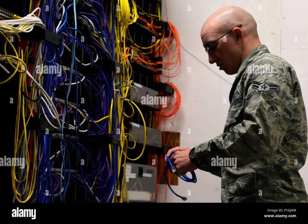 medium resolution of airman 1st class michael de la mater 460th space communication squadron network technician changes out an ethernet cable inside a communications closet
