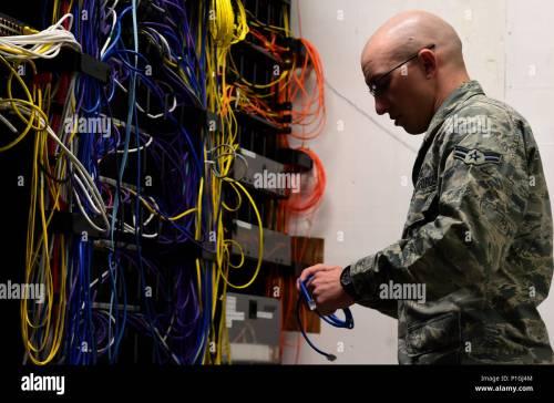 small resolution of airman 1st class michael de la mater 460th space communication squadron network technician changes out an ethernet cable inside a communications closet