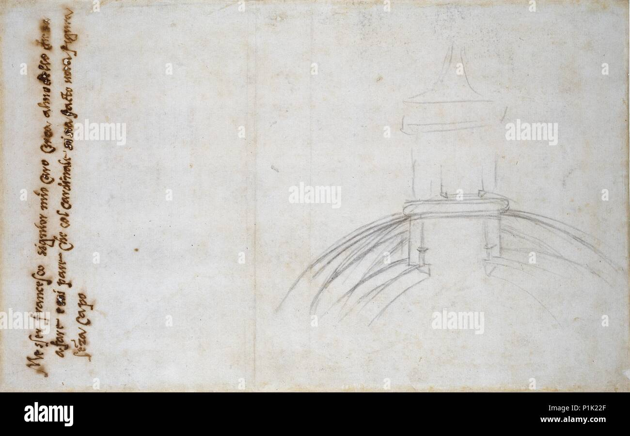 hight resolution of recto sketch showing the join of the lantern and cupola and other studies for st peter s c1490 1560 verso sketch showing the join of the lantern