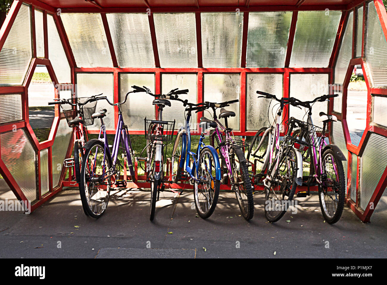 https www alamy com bicycles in a bicycle parking rack image207592959 html