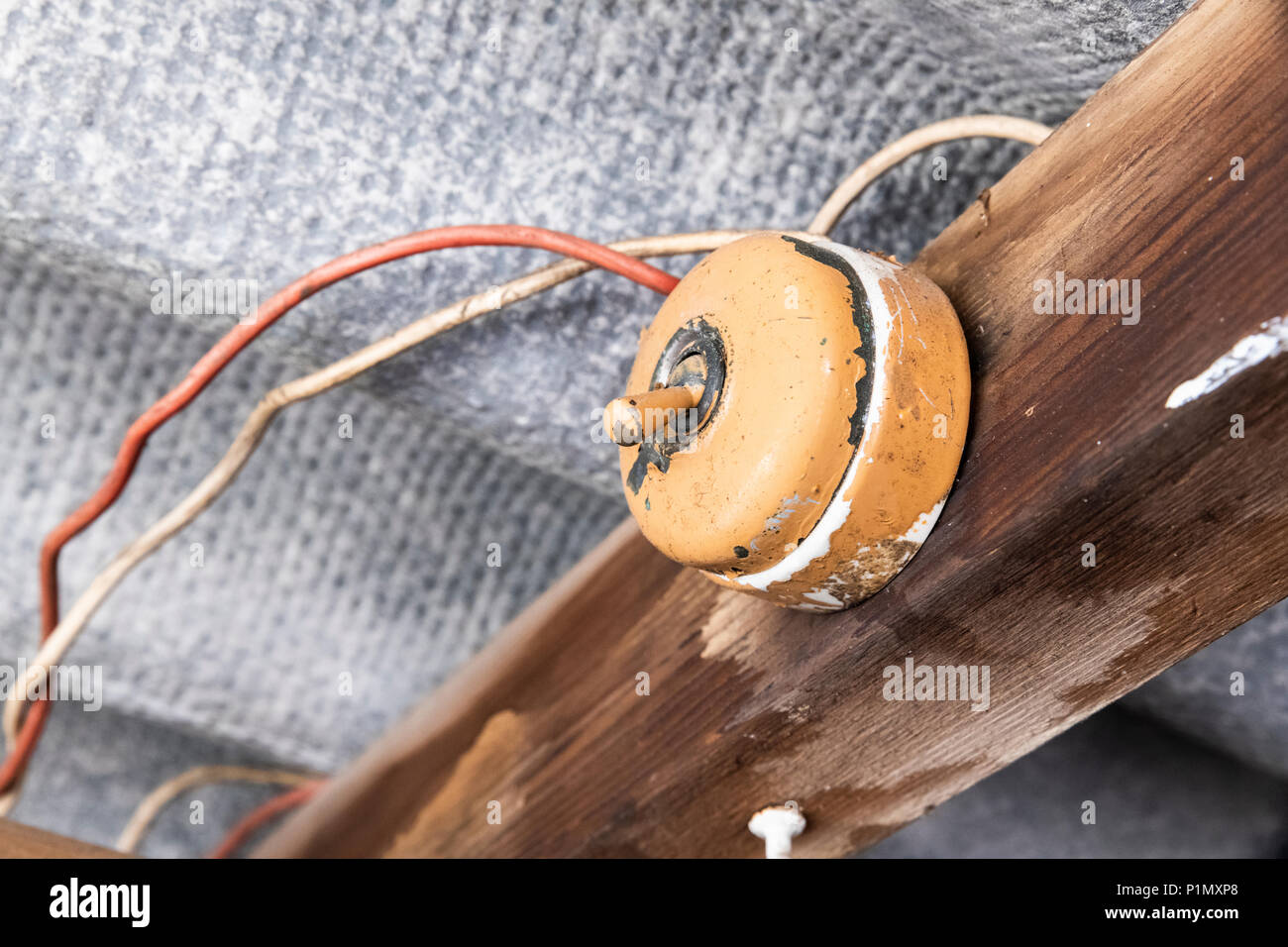 hight resolution of old light switch inside a shed with dangerous wiring and asbestos roof