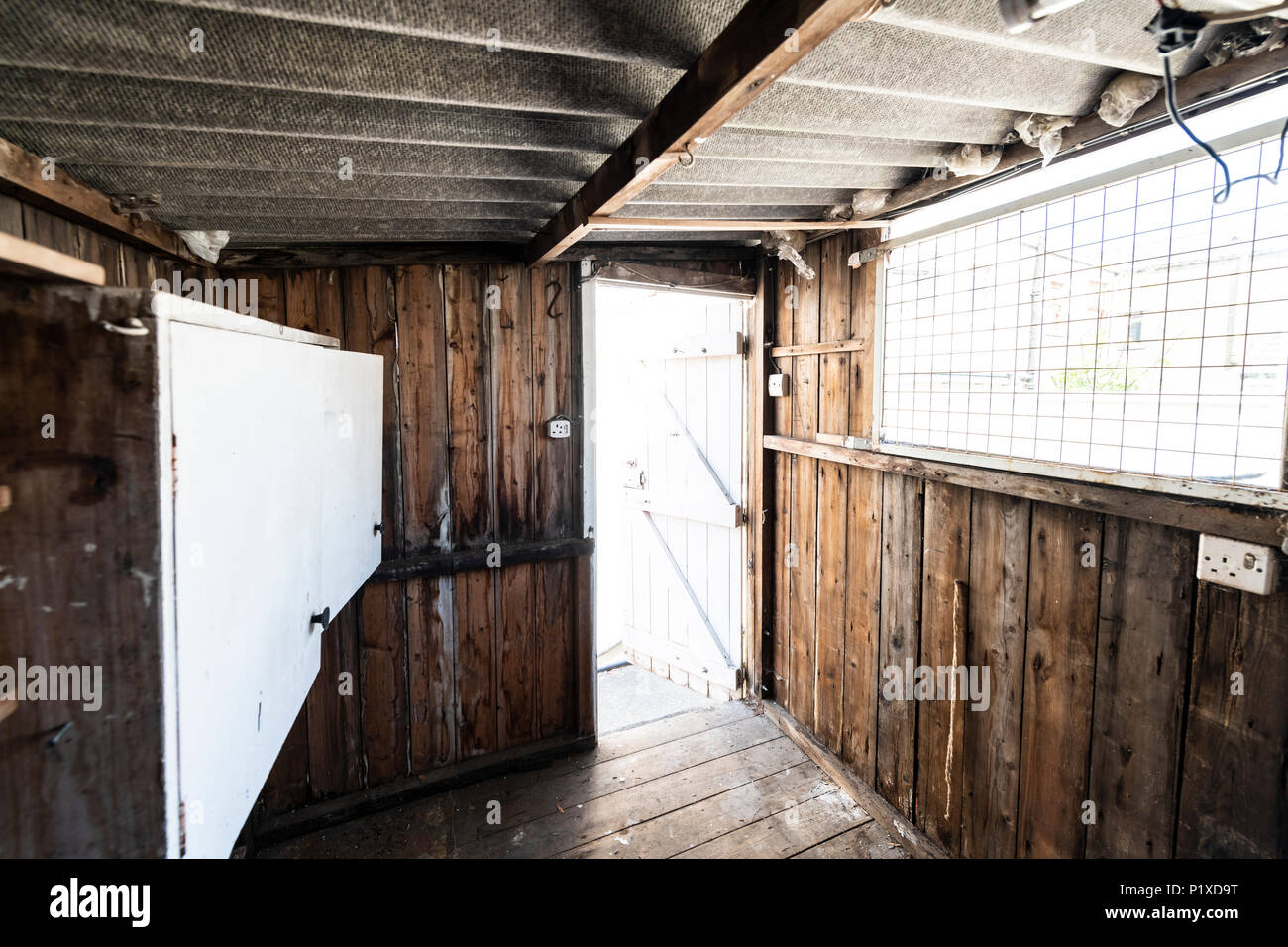 hight resolution of interior of an old abandoned shed with homemade workbench cupboards shelving asbestos roof and dangerous wiring