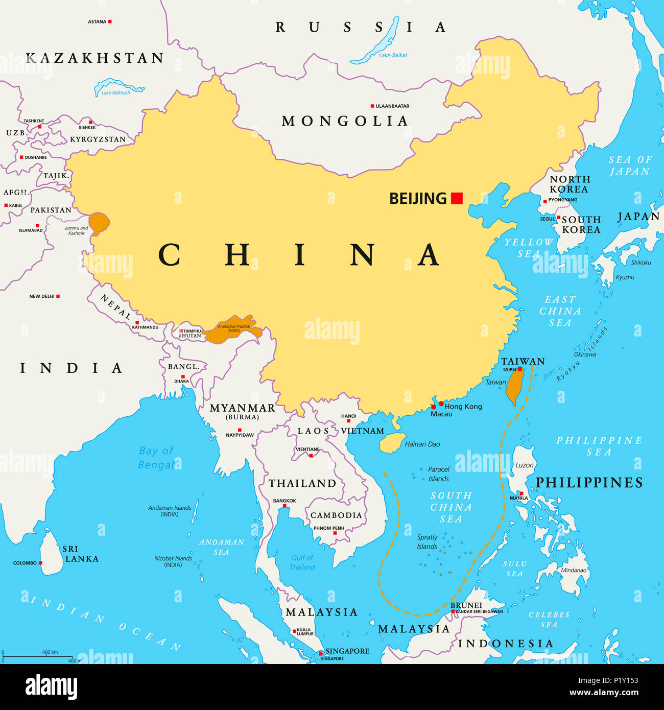 Peoples Republic Of China Prc Political Map Area