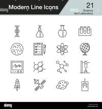 Science and Laboratory icons. Modern line design set 21 ...