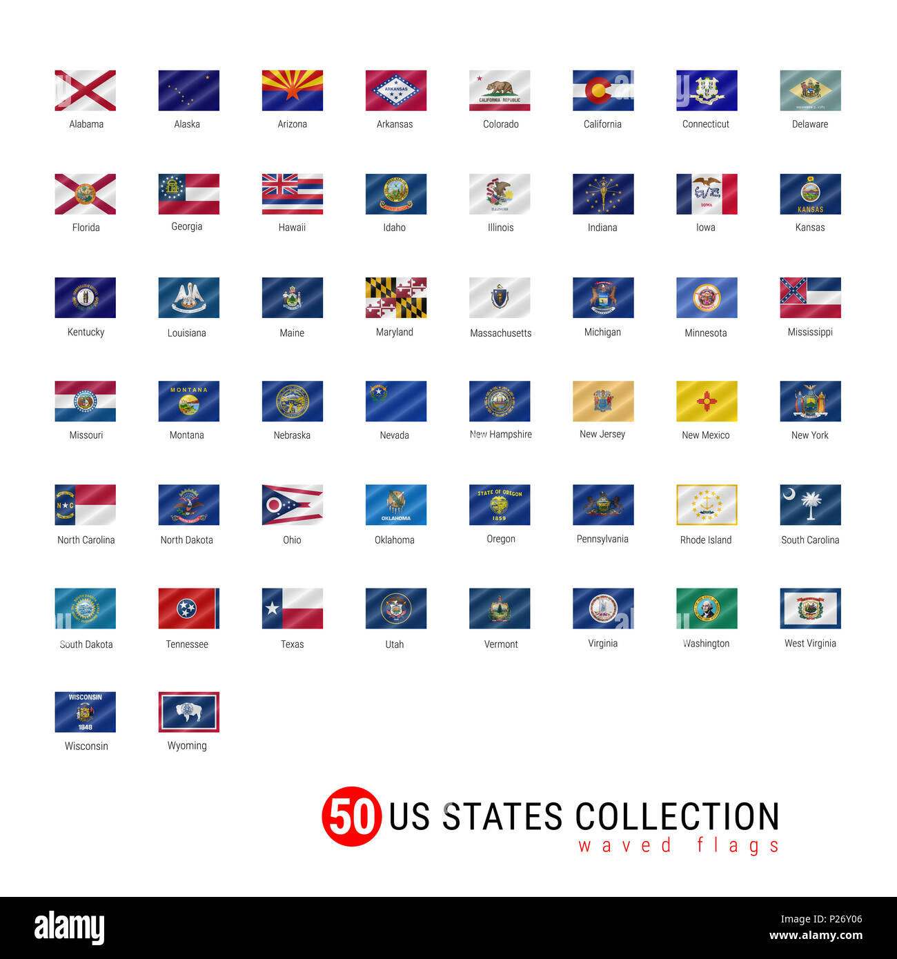 50 Us States Flag Set Official Flags Of All 50 States Us