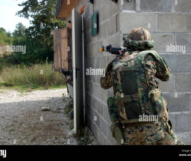 A Soldier From The Armed Forces Of Bosnia And Herzegovina Returns Suppressive Fire Sept 15 2016 During Training As Part Of Exercise Immediate Response