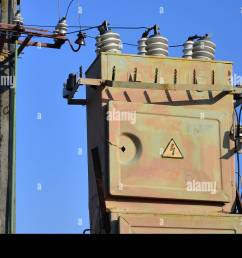 old and obsolete electrical transformer against the background of a cloudless blue sky device for distribution of supply of high voltage energy [ 1300 x 950 Pixel ]