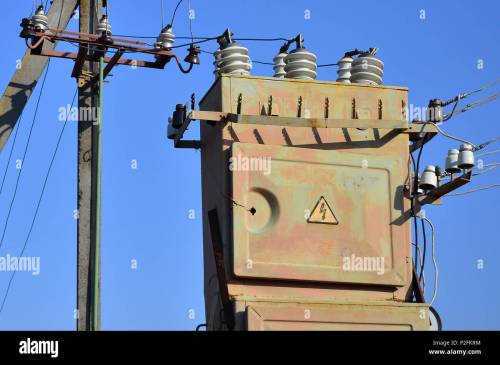 small resolution of old and obsolete electrical transformer against the background of a cloudless blue sky device for distribution of supply of high voltage energy