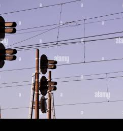 railroad traffic light against clear blue sky contact wire high and powered traffic signal using on traffic signal light wiring [ 1300 x 950 Pixel ]