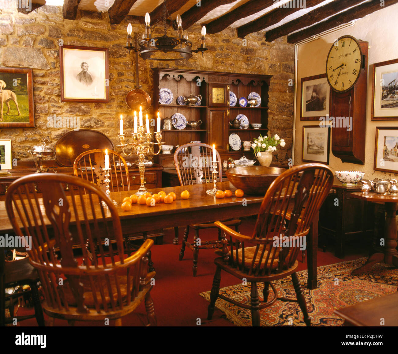 Country Dining Room Chairs Antique Windsor Chairs At Table In Dark Country Dining Room With