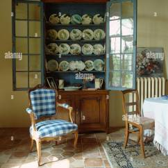 Blue And White Upholstered Chairs Best Posture In Chair Checked Louis Front Of Antique Glass Dresser French Dining Room